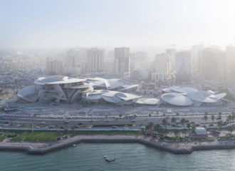 Arial view of the upcoming National Museum of Qatar designed by Atelier Jean Nouvel (photo credit: Iwan Baan)